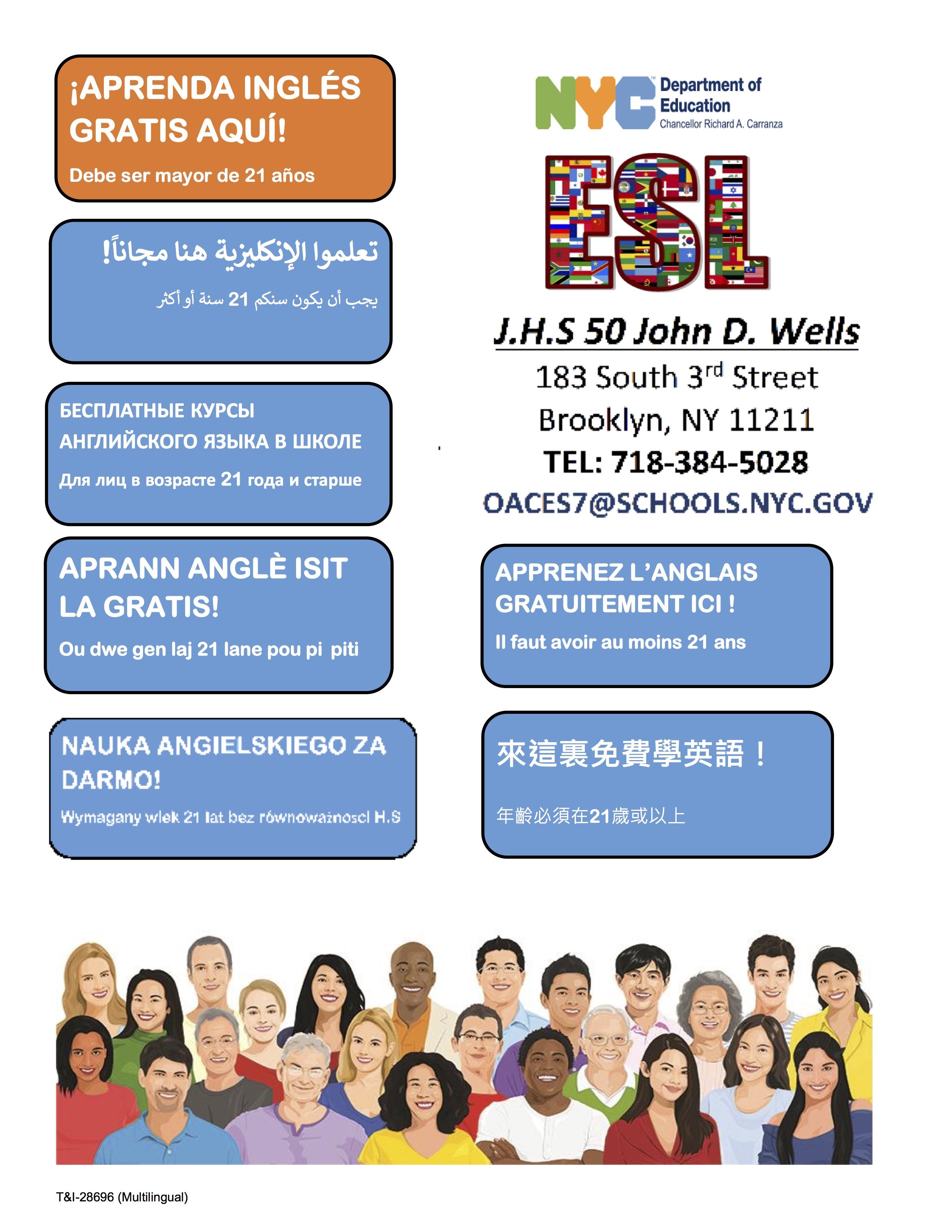 ESL flyer JHS 050 multilingual